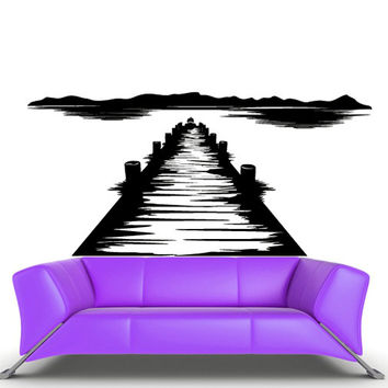 rvz510 Wall Vinyl Sticker Bedroom Decal Berth Pier Dock Quay Sea Ocean