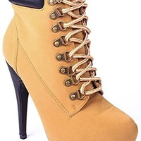 Com-1 Camel Lace Up Hidden Platform Ankle Stiletto Bootie-6.5