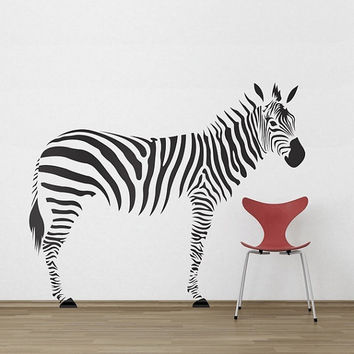 Zebra Zoo Animal Safari Large Decal  Made To order Fast Production Shipping within 24 hours...Several Color Opt