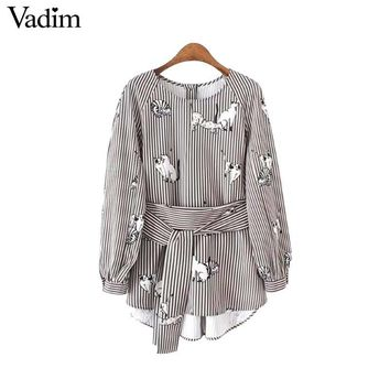 Cute animal pattern striped shirts bow tie belt long sleeve side split pleated blouses vintage casual tops