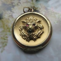 Antique Victorian Lion Locket in Gold Fill