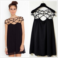 Black Straps Cutout Chiffon Mini Dress