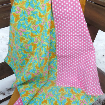 Neon Butterflies Flannel Receiving or Swaddling Blanket, Double Layer, 2 Layer Serged Blanket, New Design, Crib or Stroller Blanket