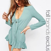 Glamorous Tall Knot Front Ruffle Hem Playsuit