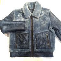 Jakewood Suede Finish Shearling Bomber Jacket