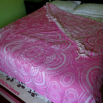 Pink colour floral woven patterned Turkish soft natural cotton double bed cover, blanket, throw blanket.