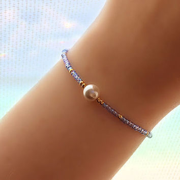 Shell Pearl Beaded Bracelet - Bridesmaid Gift - Friendship Bracelet - Best Friend Bracelet - Best Friend Gift - Seed Bead Bracelet