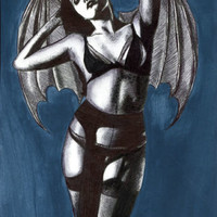 sexy vampire devil bat woman original art drawing acrylics erotica Elizavella