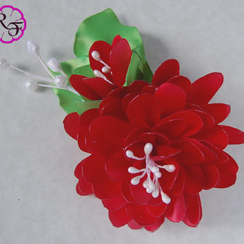 Kanzashi flower ,Dalia satin flower , french barrette , red flower hair accessory
