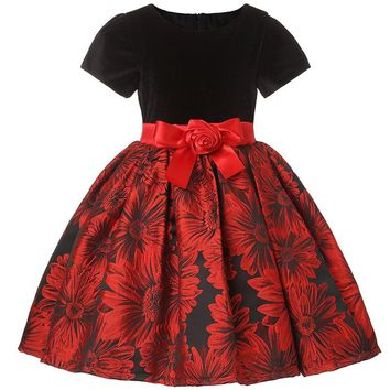 Girl Sunflower Red Party Dress