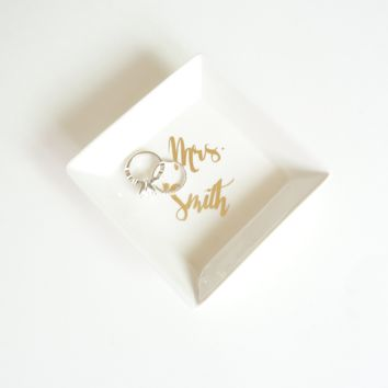 Custom Ceramic White and Gold Foil Small Jewelry Ring Holder Square Dish Personalized Mrs Name Gift