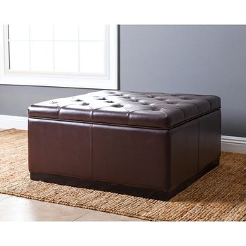 ABBYSON LIVING Frankfurt Dark-brown Leather-tufted Square Storage Ottoman | Overstock.com Shopping - The Best Deals on Ottomans