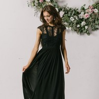 Celine Black Capsleeve Lace Maxi Dress