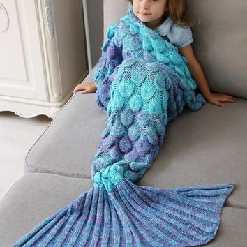 Bedroom Crochet Fish Scale Knit Mermaid Blanket Throw For Kids