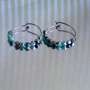 Aqua Faceted Czech Glass Beads And Stainless Steel Hoop Earrings