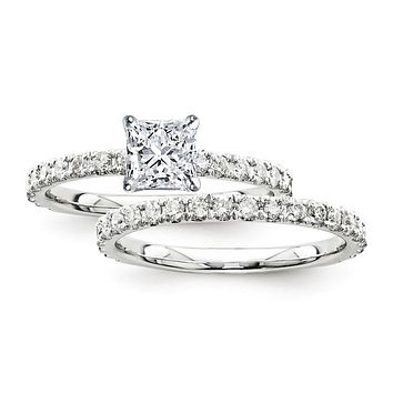 Certified 2.20 Ct. Princess Diamond Bridal Engagement Ring Set with Side Stones in 14K White Gold