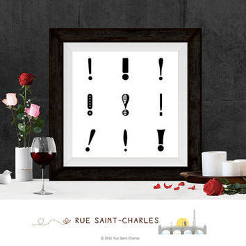 Printable Art exclamation mark print Zen Art Home Decor Modernist art Minimalist Art Print Instant downloadable art black & white art prints
