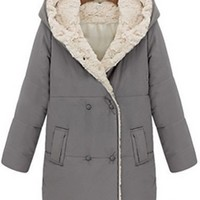 Grey Beige Faux Fur Lining Hooded Double Breasted Button Front Long Sleeve Two Pocket Coat