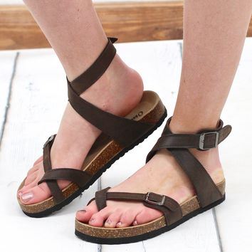 Ankle Wrap Bork Sandals {Brown}