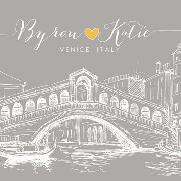 Unique Engagement Gift, Venice Italy Italian Art Print - 8x10 Wedding Anniversary Gift, Honeymoon Engagement Present, Rialto Bridge, Skyline