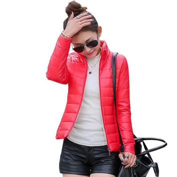 New 2017 women's jacket to keep warm in winter padded silk, ladies fashion casual Slim padded winter jacket