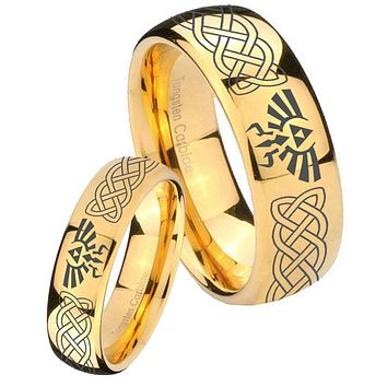Bride and Groom Celtic Zelda Dome Gold Tungsten Carbide Men's Bands Ring Set
