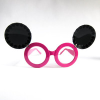 Flip Up Oversized Sunglasses // Round Sun glasses // Circle Sunglasses // MOUSY Pyramid Studded Shades in Pink