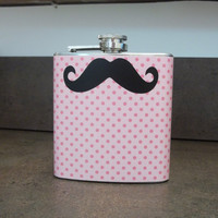 Mustache Pink Polka Dots Flask