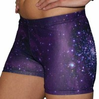 Purple Galaxy Printed Spandex Compression Short
