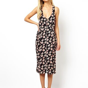 ASOS Midi Dress In Floral Print With Zip Through