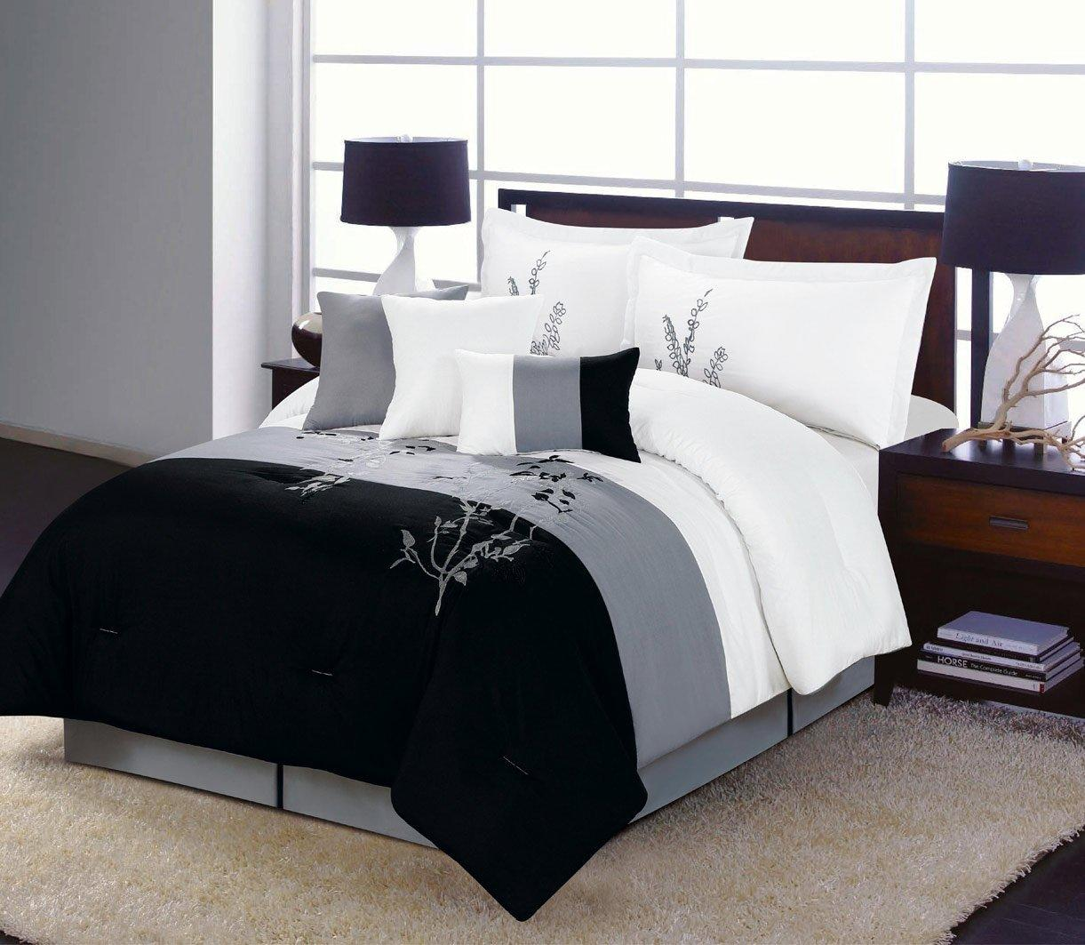 7 Piece Vine Comforter Set Black White From Amazon