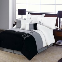 7 piece Vine Comforter Set Black, White, Grey Bedding QUEEN size Bed In A Bag