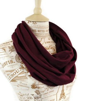 Infinity Scarf Mulberry Burgundy Maroon Circle Jersey