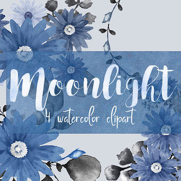 Moonlight floral clipart, watercolor clipart, flowers png, blue clipart, blue flowers clipart, blog clipart, logo clipart, floral wreath