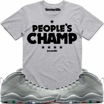 PEOPLE'S CHAMP Grey Sneaker Tees Shirt - Jordan 10 Cool Grey