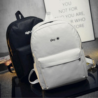 Fashion Day and night Embroidery lovers Backpacks Canvas Men Women School Bag For Teenagers Student Book Bags Mochila Back pack