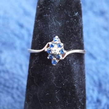 Love Story 10K Yellow Gold Ring with Diamond and Topaz Stones Size 6 1/2, Pretty Vintage Gemstone Jewelry, Free Shipping and Gift Box