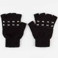 Pyramid Stud Fingerless Gloves Black One Size For Women 22360910001