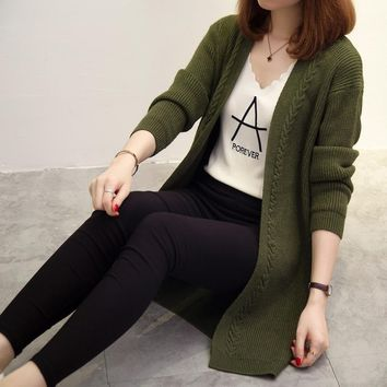 2018 Solid color Women Sweater Cardigan Slim Lady Spring Autumn Twisted  Long Knitted Cardigans Casual Women Sweaters Jacket