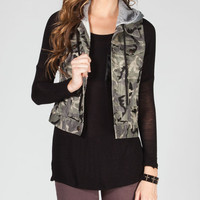 Others Follow Mia Womens Hooded Vest Camo  In Sizes