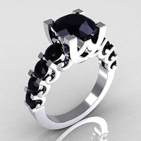 4.76CT BLACK ROUND CUT SOLITAIRE 925 STERLING SILVER ENGAGEMENT RING FOR HER