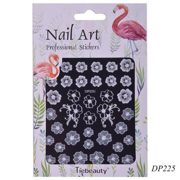 1 PCS Fashion Blooming Rose White Carving Sticker for Nails Art Adhesive Acrylic Polish Nail Decals DIY Flower Tools CHDP225-236