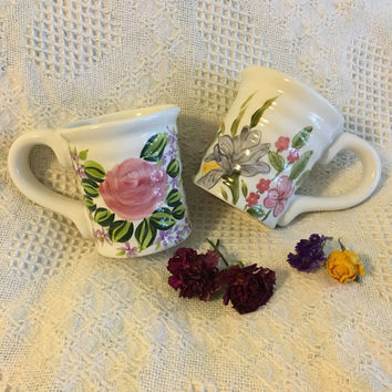 Floral Ceramic Mugs NanTucket Vintage Hand Painted Large Cups With Purple Pink Yellow Flowers and Green Leaves Set of 2 Hostess Spring Gift