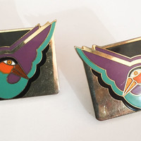 Laurel Burch Earrings, Enamel, Geese, Birds, Vintage Jewelry, ETSY SALE