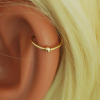 Tiny Hoop Gold earring hoop helix small bead ball Cartilage tragus helix lip nose ring Small tiny catch less Seamless Little Sleeper.