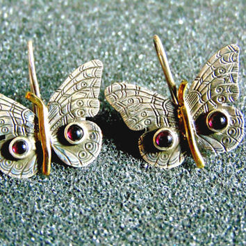 Beautiful silver bronze and garnet butterfly earrings-Butterfly drop earrings-Gemstone butterfly drop earrings-Artisan jewelry-Greek art