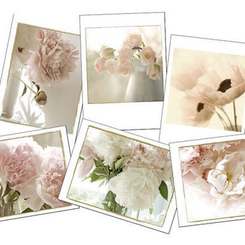 CIJ Sale, Six Shabby Chic Flower Cards, Blank Cards, Flower Photographs, Sepia, Peony, Tulip, Poppy, Christmas in July, christmasinjuly