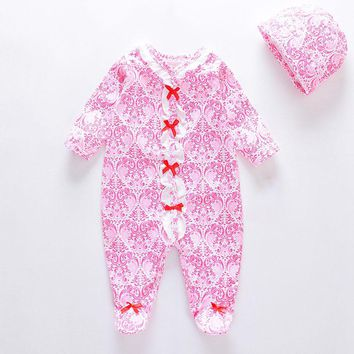 2018 Newborn Baby Rompers Boy Girl Dresses Unisex Clothing Cotton Long Sleeves Outfit Prints Baby Girl Sweety Clothes Romper+Hat