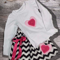 Hot Pink Chevron Heart Skirt Set