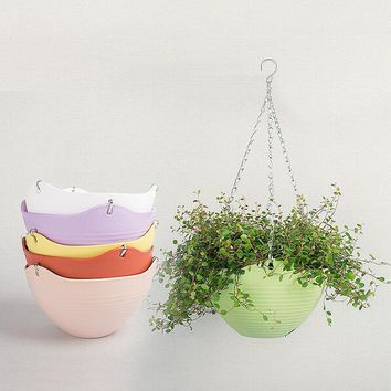 2pc 9 Color 20*13CM Plain Color Round Plastic Hanging Planter Flower Pot With Metal Chain For Home and Garden Indoor Plant White